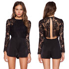 BLACK Sexy Long Sleeve Prom Women Lace Evening Party Jumpsuit  Playsuit Rompers