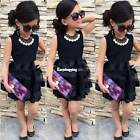 Baby Kid Girl Sleeveless Round Neck A-line Cocktail Party Short Mini Dress ES9P