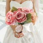 Rose Silk Ribbon Handmade Bridal Bridesmaid Flowers Bouquet Wedding Decorations