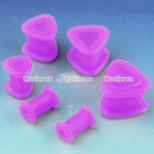 Pair Purple Flexible Silicone Triangle Ear Tunnel Plugs Stud Expander Stretcher
