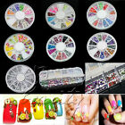 Neu 3D Nagelsticker Nail Art Glitter Strass Nageldesign Nagel Tips Dekor mit Rad