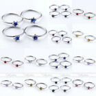 10x Stainless Steel Fake Nose Lip Ring Cheater Star Czech Crystal Hoop Earrings