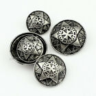 High Quality Round Star Carving Metal Shank Button Sewing Embellishment 12 PCS