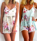 Summer Women Flowers Pattern V neck Clubwear Sexy Playsuits&Jumpsuit Pants Cute