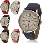2015 Hot Fashion Mens Womens Faux Leather Rome Analog Quartz Wrist Watch Gift