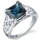 Princess Cut 2.75 cts London Blue Topaz CZ Ring Sterling Silver Sizes 5 to 9