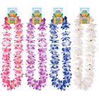 DELUXE 110cm Hawaiian Lei Luau Hula Girl Flower Garland White Purple Hen Night