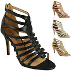 NEW WOMENS LADIES PEEPTOE STRAP FASHION PARTY STYLISH HEEL SHOES SIZE 3-8 UK