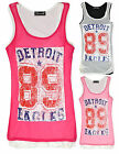 Ladies Sleeveless Graphic Printed Vest Top New Two Layer Summer Racerback Top