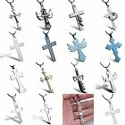 Fashion Crystal Stainless Steel Cool Black Leather Unsex Cross Necklace Pendant