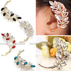 Elegant Copper Gold Plated Crystal Glass Leaf Wrap Cuff Clip Left Earrings Gift