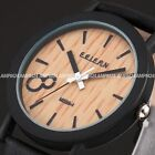 2 Colours Simulation Wooden Design Casual Mens Leather Quartz Wrist Watch Gift