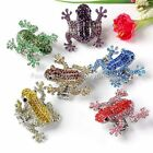 Cute Rhinestone Crystal Frog Elastic Stretchy Finger Ring us9 Colors Xmas Gift