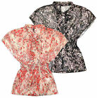Ladies Floral Printed Chiffon Blouse Elasticated Waist New Sheer Top Sizes 8-14