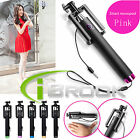 Extendable Wired Shutter Selfie Monopod Stick for iPhone Smartphone Portable New