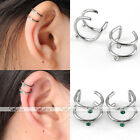 Pair 16G Stainless Steel Crystal Ear Cuff Wrap Clip On Cartilage Punk Jewelry