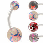 glitter acrylic belly button navel ring steel barbell bar 9JDR-CHOOSE STYLE&SIZE