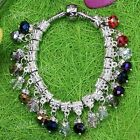 Silver Plated Crystal Glass Dangle Abacus Beads Big Hole For Charms Bracelet