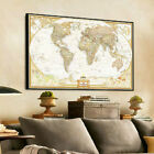 Vintage World Map Poster Vintage Wall Chart Paper Decor Flags Geography 72*48cm