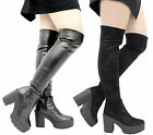 Ladies Women Over The Knee Thigh High Chunky Cleated Platform Heel Stretch Boots