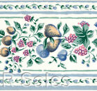 Kitchen Vtg Small Fruit Tiny Blue White Country Wallpaper Wall Border Wallcover