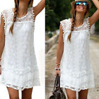 Hot Lady's Summer Casual Sleeveless Evening Party Beach Mini Lace Dress Skirt