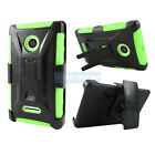 FOR MICROSOFT LUMIA PHONES RUGGED CASE PROTECTIVE COVER & BELT CLIP HOLSTER+FILM