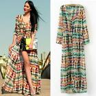 Female Sexy Chiffon Long Sleeve Boho Gypsy Beach Maxi Cardigan Shirt Dress
