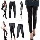 Women Girls Stylish Sexy Leather Lace Panel Leggings Stretchy Pants Trousers F34