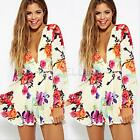 Lady Vintage Floral Print Deep V Neck Lace Jumpsuit Romper Playsuit Shorts Pants
