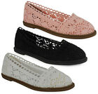 NEW WOMENS LADIES SLIP ON CLASSIC FASHION CUTOUT CROCHET SHOES SANDALS SIZE 3-8