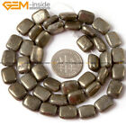 "Natural Stone Genuine Pyrite Gemstone Beads For Jewelry Making 15"" Rectangle"