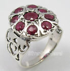 925 Solid Silver Exclusive RED RUBY MULTISTONES CELTIC Ring Any Size 5.1 Grams