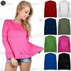 New Women Ladies Plain Long Sleeve Stretchy Flared A Line Swing Tee T Shirt Top