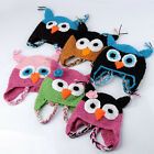 Rare Kids Toddler Baby Girl Boy Cute OWL Animal Crochet Knit Woolly Cap Ear Hat