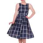 Dolly and Dotty ANNIE Retro 50s Dress Swing ~ Navy Blue Check All Sizes