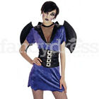 Ladies Sexy Bat Cave Dweller Halloween Fancy Dress Costume Women Vampire Bat NEW