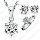 Hot Selling 925 Sterling Silver CZ Necklace/Earring/Ring Wedding Jewelry Sets