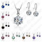 Romantic Fine 925 Sterling Silver AAA CZ Pendant Women Wedding Jewelry Sets