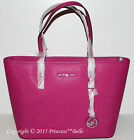 MICHAEL KORS MK Jet Set Travel Top Zip Tote Saffiano Shoulder Bag Purse Fuschia