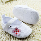 Infants Baby Girl White embroidered shoes Crib shoes Soft soles Size 0-18 Months