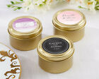 36 Personalized Wedding Theme Round Gold Candy Tins Wedding Favors