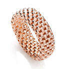 J - JAZ Sterling Silver Rose Gold Coated Stretchy Mesh Ring  Fit from size J -