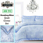 400TC Nanjing Blue Oriental Jacquard Quilt Cover Set Grand Aterlier QUEEN KING