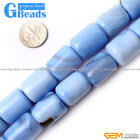15x20mm Column Gemstone Blue Agate Beads For DIY Jewelry Making Strand 15""