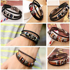 1pc New Arrival Women Men Wristband Metal Studded Leather knit Bracelet Gift