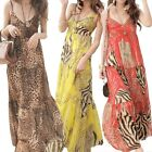 Vintage Long Sundress Casual New Leopard Chiffon Dresses Summer Dress Size 8