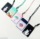 With Alice Rim Neck Card Pocket Holder Strap Case Money Coin Wallet Cute Purse