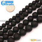 "Round Black Frost Gemstone Jewelry Making Spacer Agate Beads15"" 8 10 12 14mm"