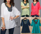 AU SELLER BOHO Embroidery Tunic Kaftan Loose Top/Beach Cover Up SZ 8-18 T030